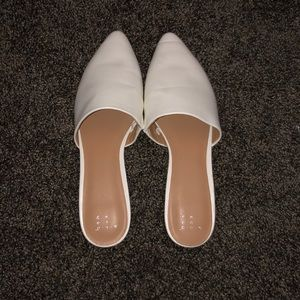 White pleather mules